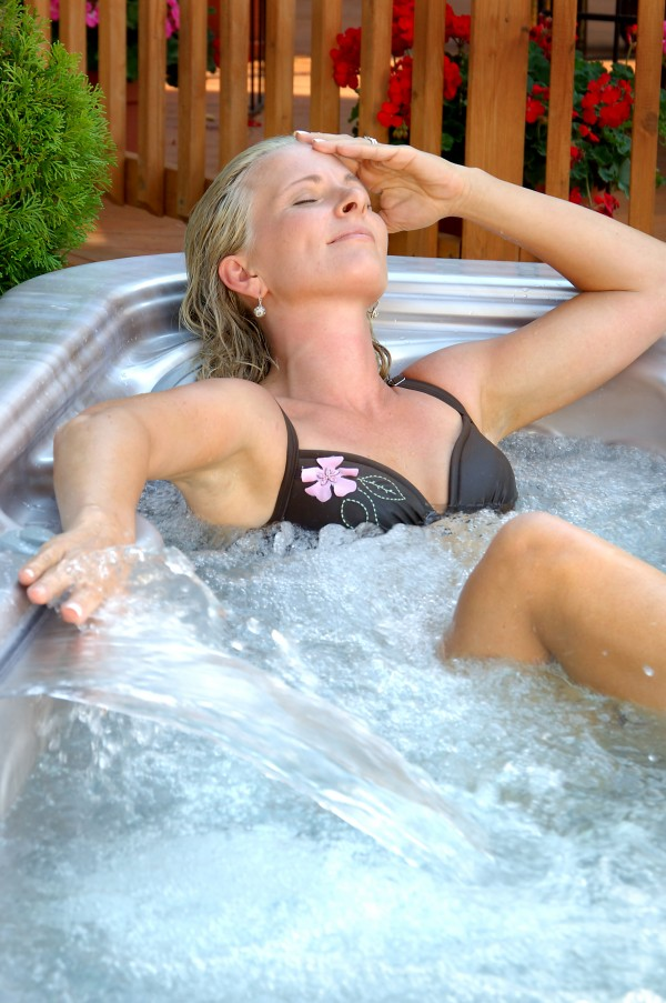 Blonde Relaxing with Waterfall